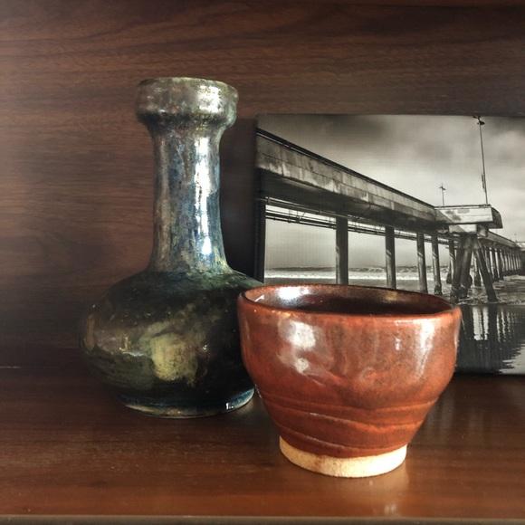 Vintage Handmade Glazed Pottery Vessel and Bowl
